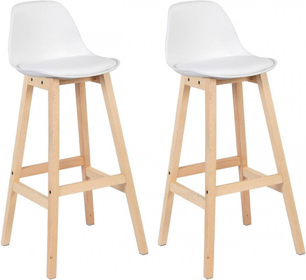 Breakfast Kitchen Counter Chairs Bar Stools Set of 2 , White