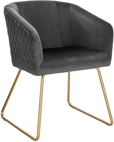 Dining chair with armrests in velvet & metal - model Annika