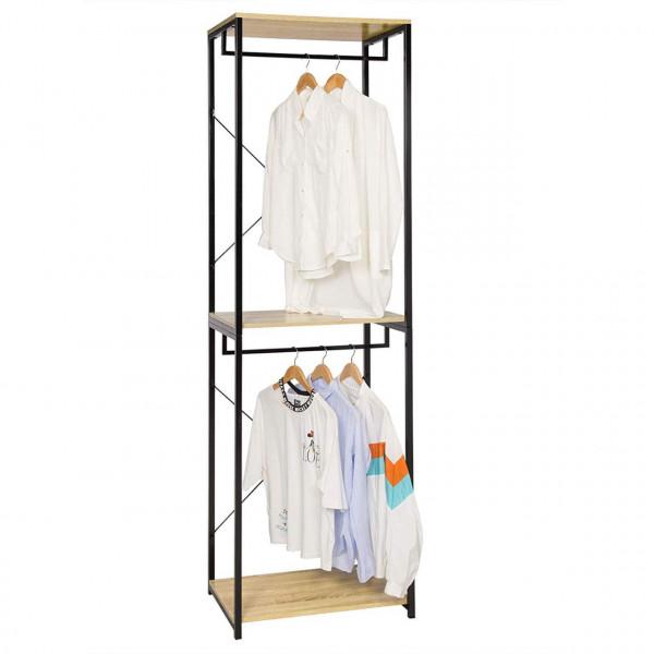 Garderobenständer mit Ablage Schuhregal aus Holz & Metall, Schwarz-Eiche hell