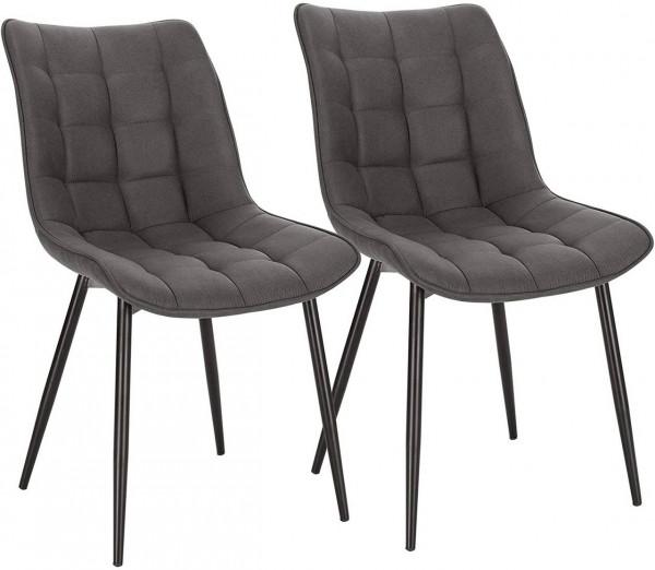 2er-Set Küchenstühle aus Stoffbezug Metallbeine Elif, Dunkelgrau