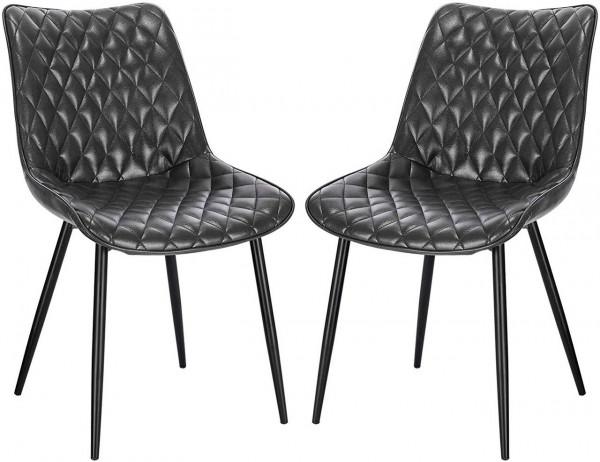 2er-Set Esszimmerstühle aus Kunstleder mit Metallbeine Modell Insa, grau