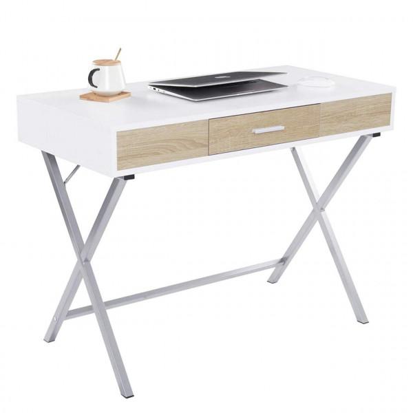 Schreibtisch Computertisch mit 1 Schublade Holz Stahl
