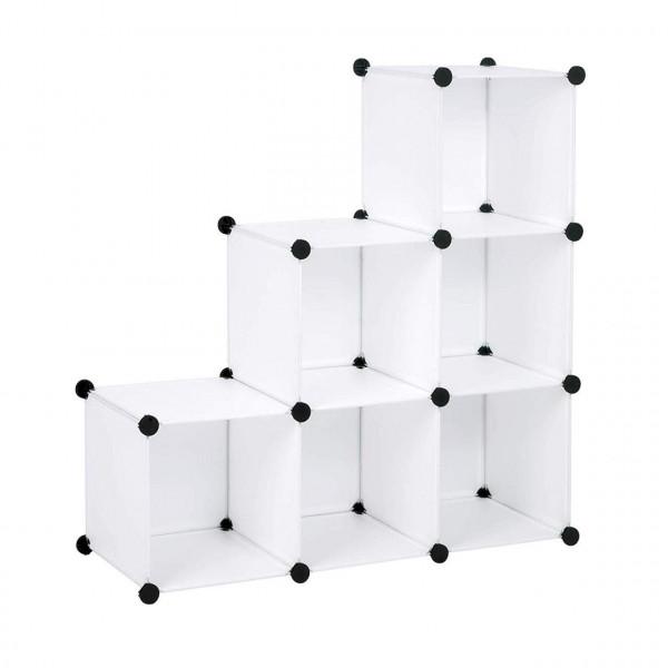 Garderobenschrank 6 Fächer Kunststoff Weiß