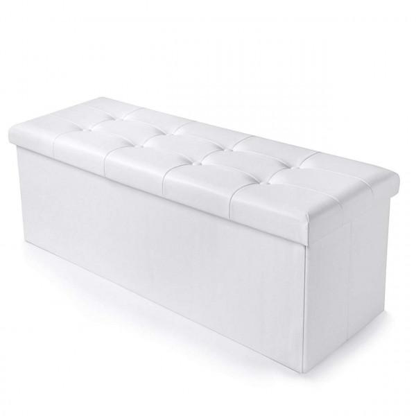 Sitzhocker mit Stauraum Sitzbank faltbar Kunstleder Weiß