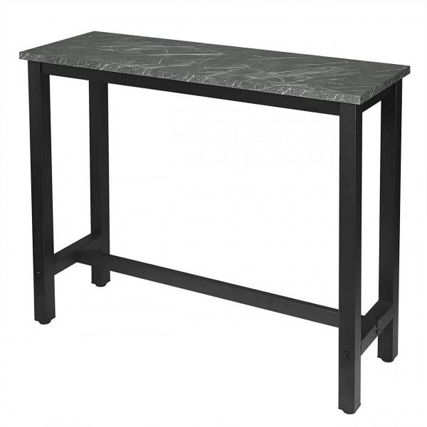 Bartisch Metallgestell Tischplatte aus MDF, schwarzer Marmor