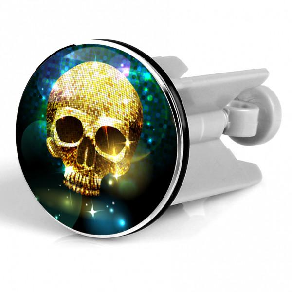 Waschbeckenstöpsel Skull Gold