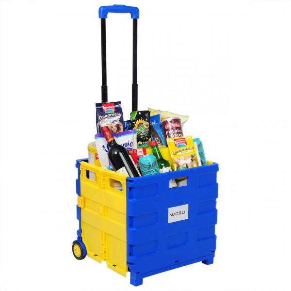 Einkaufswagen mit Deckel gross Blau-Gelb