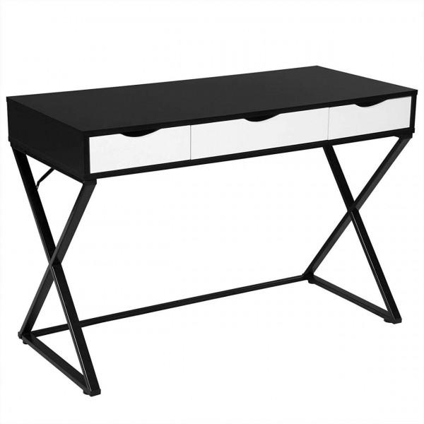 Schreibtisch mit 3 Schubladen aus Holz & Stahl im weiß