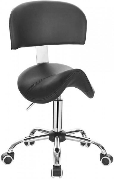Arbeitshocker mit Rückenlehne aus Kunstleder Modell Anke, schwarz