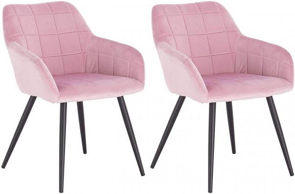 2er-Set Esszimmerstuhl aus Samt Metallbeine kariert,rosa