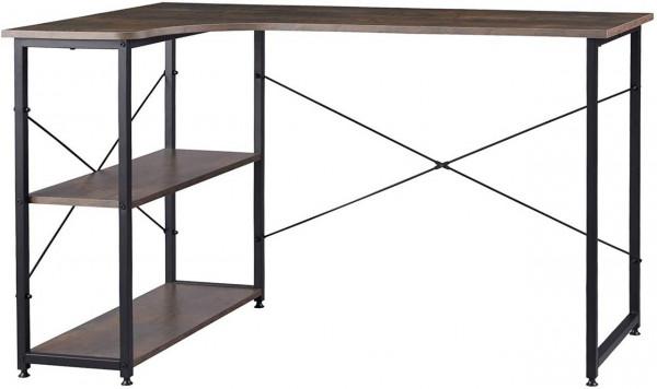Schreibtisch mit Bücherregal aus Holz L-Form 120x74cm, schwarz rostfarbe