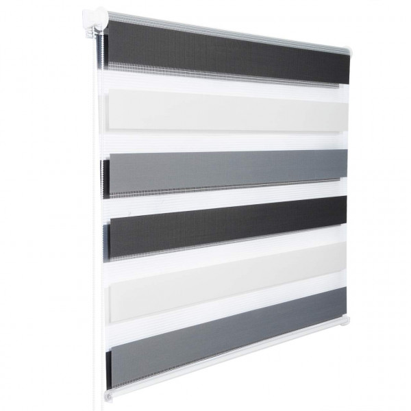Day and Night Zebra Roller Blind Double Layer Roller White-grey-anthracite