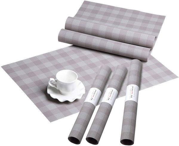 Placemats Set of 6 Washable Non-slip Heat Resistant PVC Table Mats Woven Vinyl Dining Table Place Mats, Check Purple-Grey