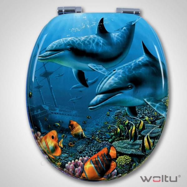 WC-Sitz MDF 3D Delfine mit Absenkautomatik