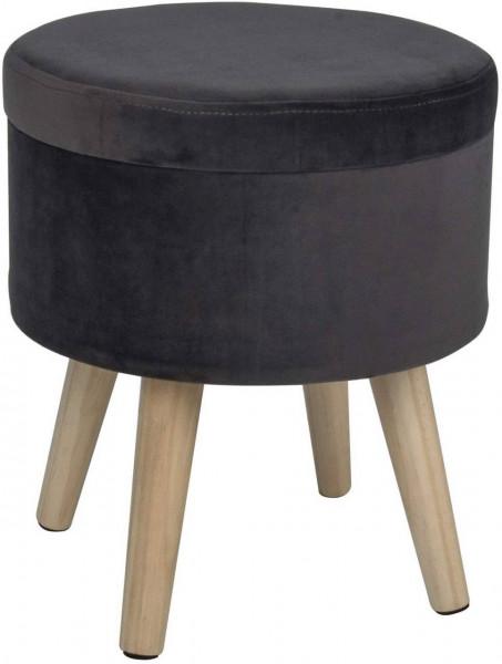 Sitzhocker mit Stauraum aus Samt, Deckel abnehmbar Qina, grau