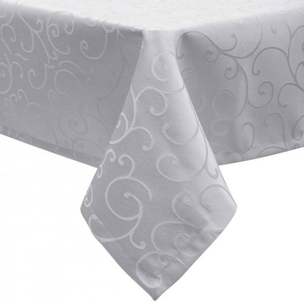 Tischdecke/Tafeldecke mit Saum, Ornamente im Seidenglanz Design, Hellgrau
