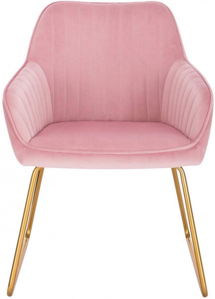 2er-Set Esszimmerstühle aus Samt - Modell Kerstin, Rosa vorne
