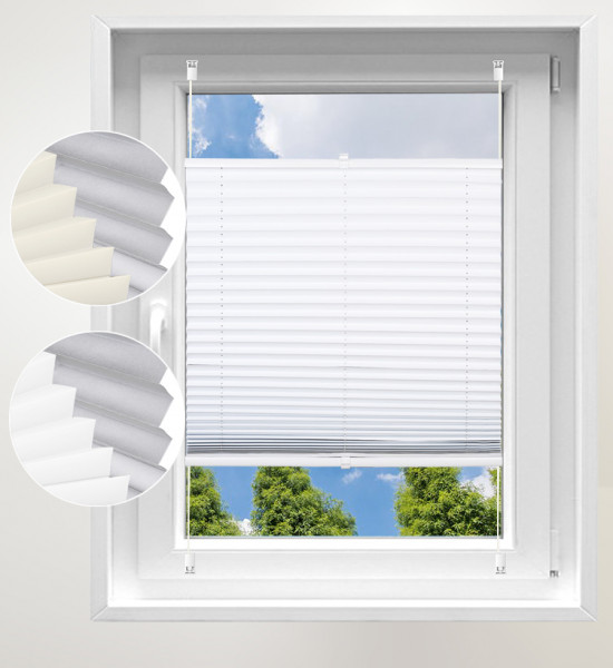 100% blackout thermo roller blind, pleated blind without drilling White