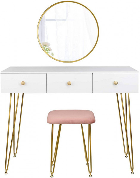 Dressing table with stool and mirror gold modern design model luxe