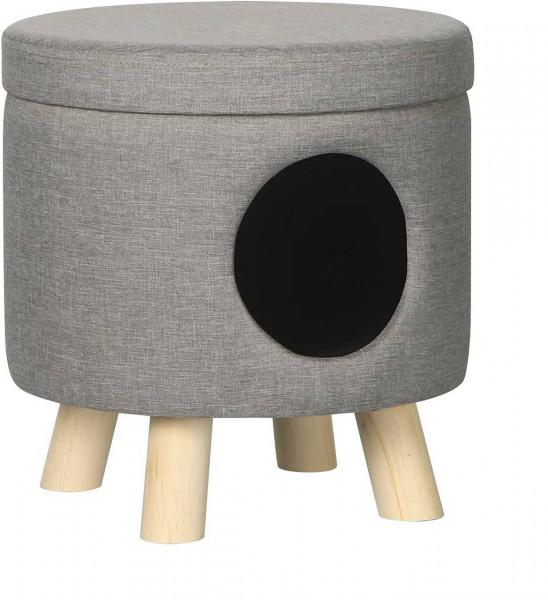 Sitzhocker Fußhocker mit Stauraum und Öffnung aus Leinen,hellgrau