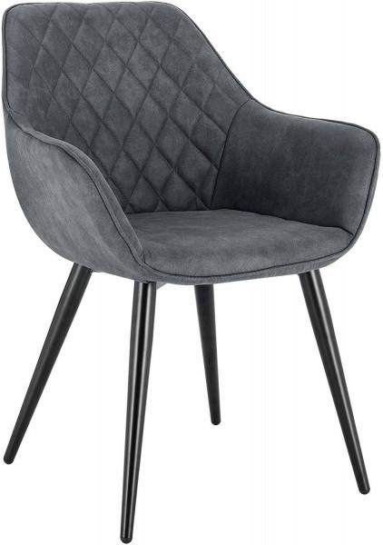 Esszimmerstühle mit Armlehen aus Stoff - Modell Kevin, Grau