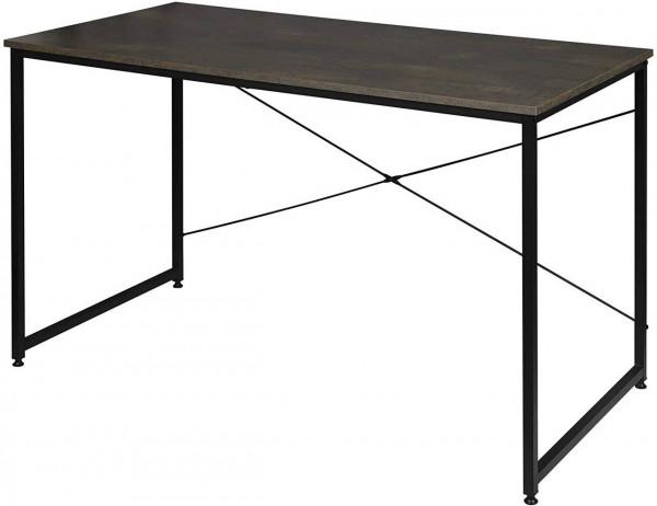 Schreibtisch aus Holz & Stahl in modernem Design, schwarz-rostfarbe