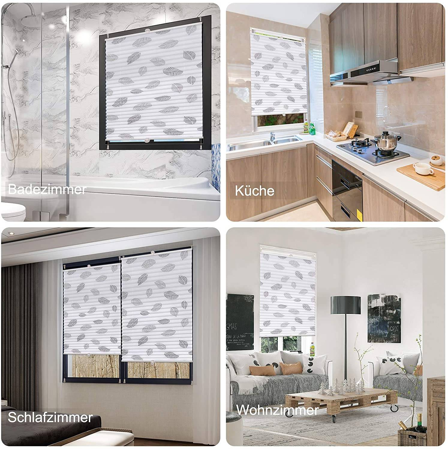 Pleated blind roller blind Fixfix without drilling with gray leaf motif 18  x 18 cm