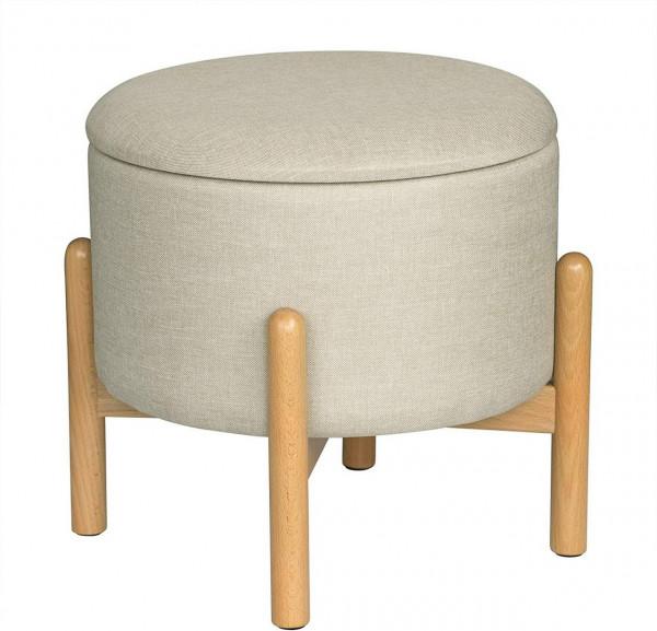 Sitzbank Sitztruhe mit Stauraum aus Leinen, rund, cremeweiß