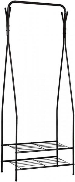 Kleiderständer mit 2 Metallablagen für Schuhe, schwarz