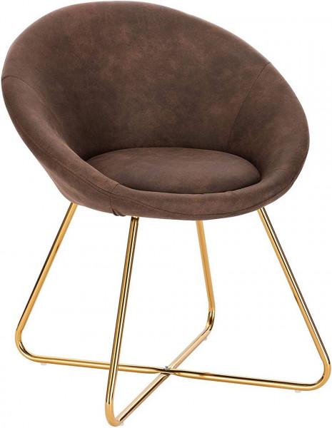 Küchenstuhl aus Stoffbezug & Metallbeine - Modell Hanna, braun