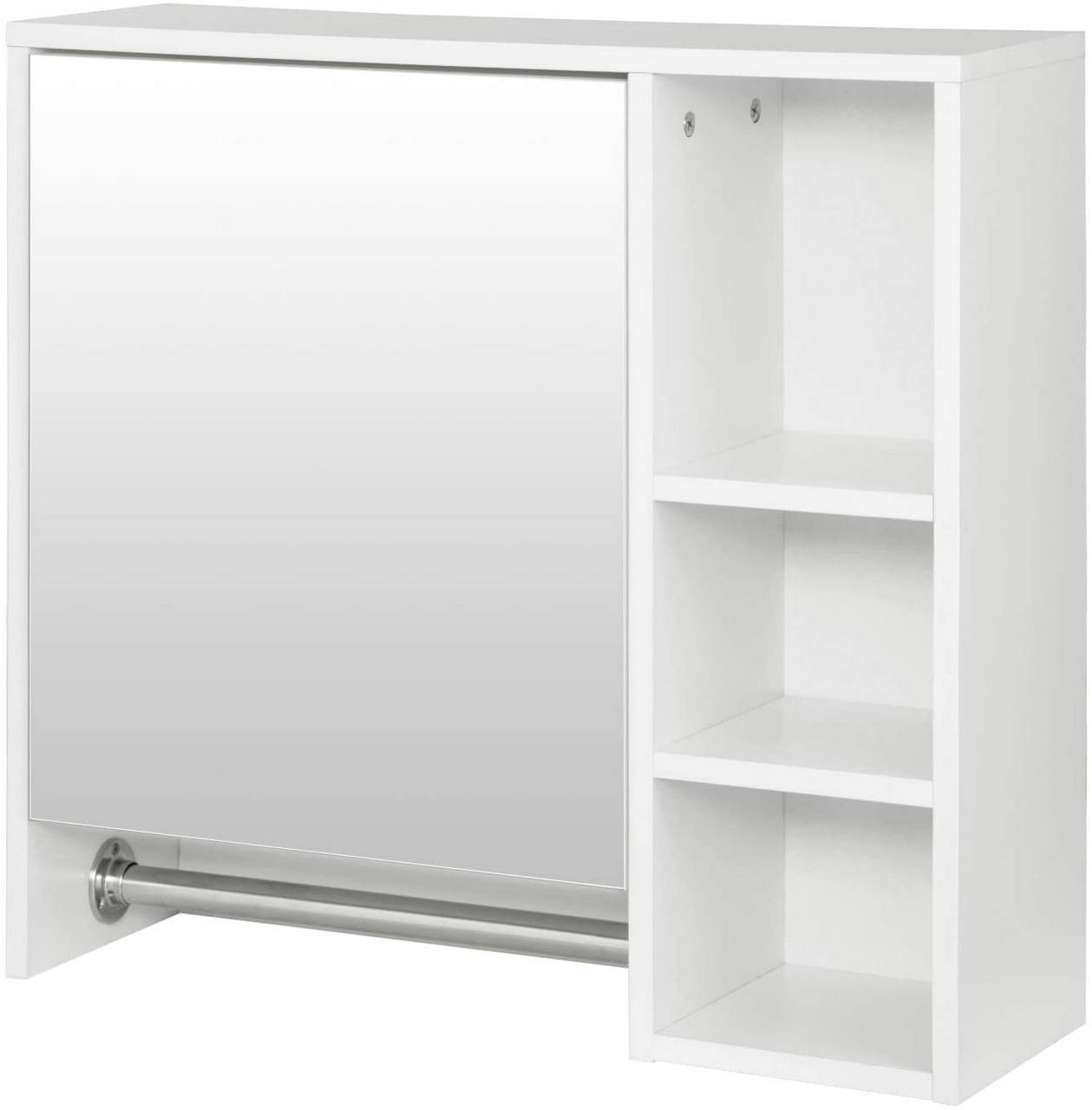 Wall Bathroom Cabinet With 3 Storage Unit Stainess Steel Hanging Rail Woltu Eu