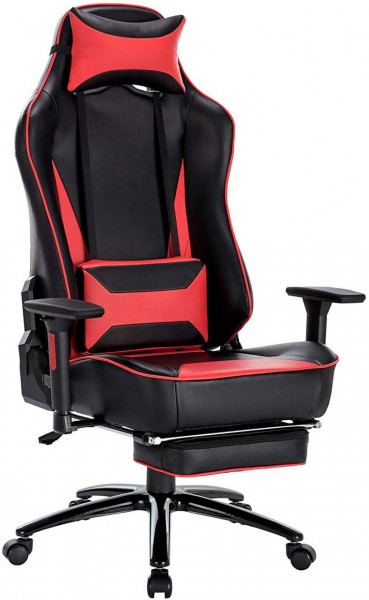 Gaming Stuhl mit Kopfkissen und Lendenkissen - Modell Frank, Rot