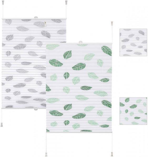 Plissee Faltrollo Klemmfix ohne Bohren mit Blättermotiv grün