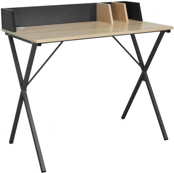 Schreibtisch aus Holz & Metall, Designer X-Gestell, eiche