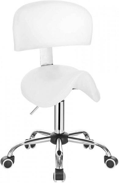 Arbeitshocker mit Rückenlehne aus Kunstleder Modell Anke, weiß