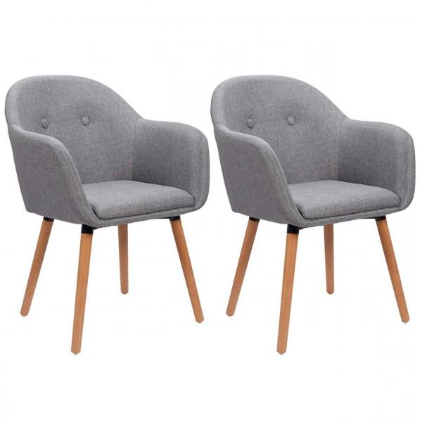 2er-Set Esszimmerstühle aus Leinen Holzbeine