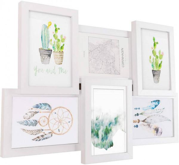 Bilderrahmen aus MDF-Platten für 6 Fotos 10x15 cm, weiß