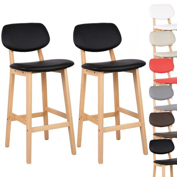 Barhocker 2er Set Barstühle Gut Gepolsterte aus Kunstleder
