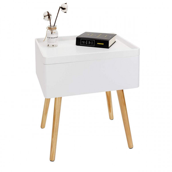 Wooden bedside table with storage in white