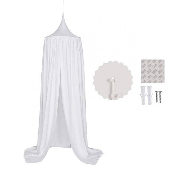 Baldachin Kinderzimmer, Betthimmel aus Polyester 230 cm, weiß