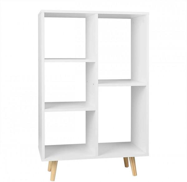 Bücherregal aus MDF & Holz mit 5 Fächern Weiß