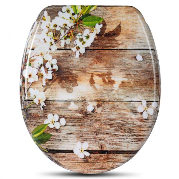 WC-Sitz Duroplast mit Absenkautomatik weisse Blüte