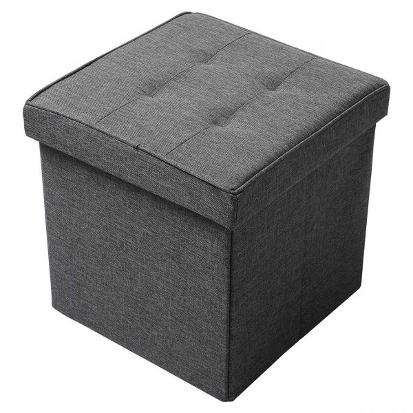 Linen sitting stool with storage space - model Martin