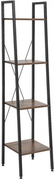 Standregal aus Metall & Holz mit 4 Ablagen, Modell Ani, schwarz-vintage