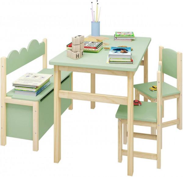 Kindersitzgruppe Kindertisch und klappbare Aufbewahrungsbox aus Kiefernholz und E1 MDF