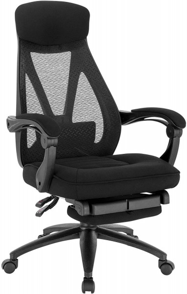 Office chair made of mesh with rocker function & footrest black