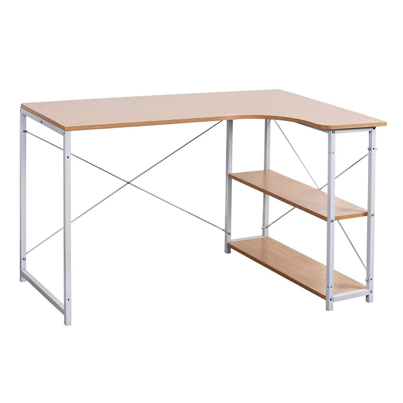 - Computer Desk With Two Shelves Woltu.eu