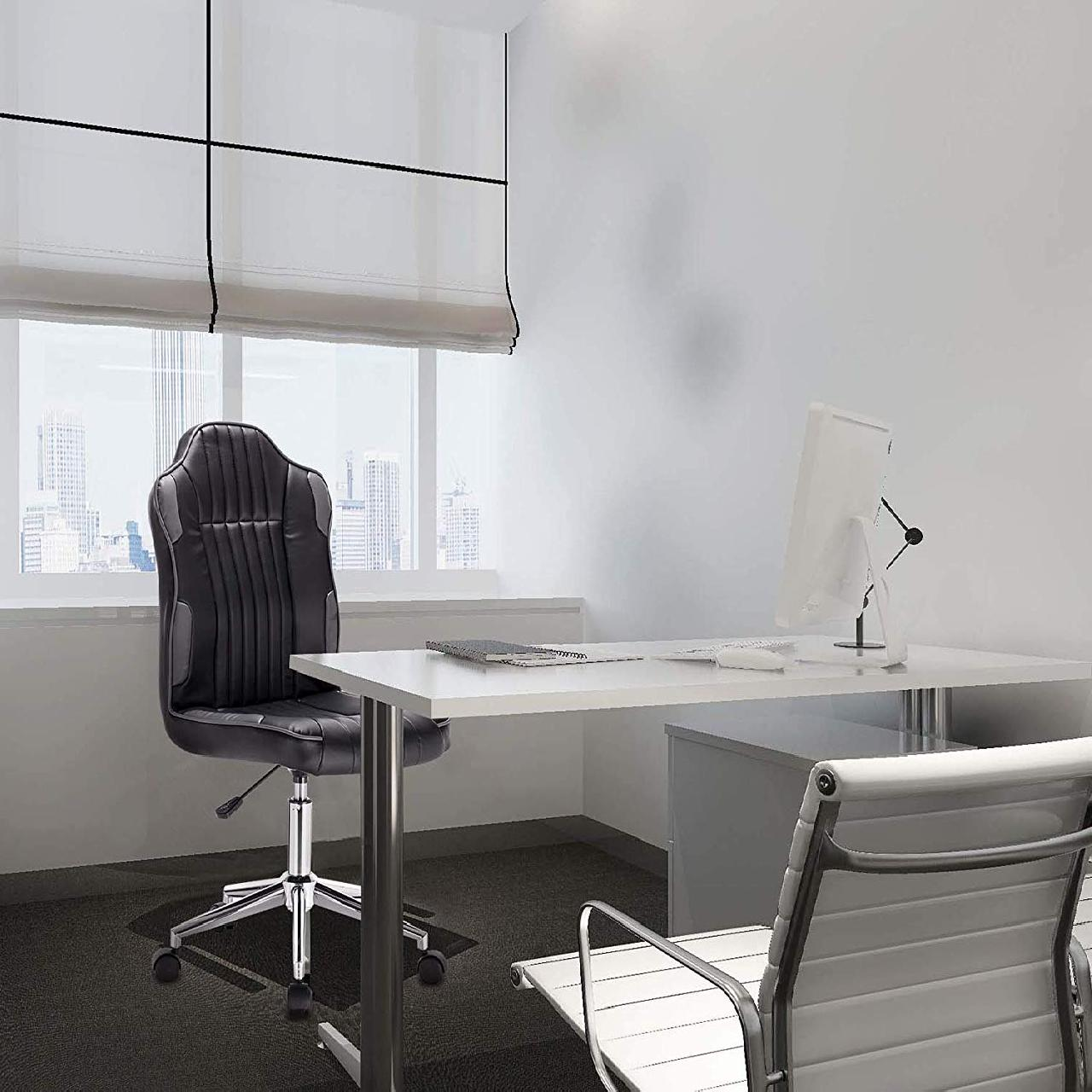 - Office Stool Made Of Synthetic Leather, Continuously Adjustable In
