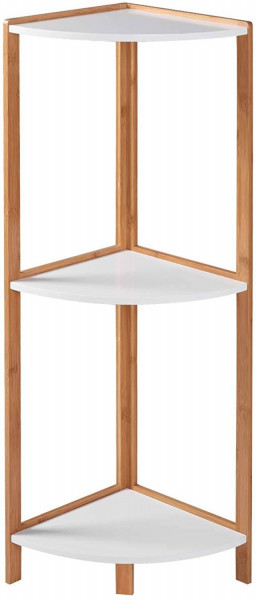 Standing Shelf with Wooden Shelves,3 tiers Bamboo Frame for Living Room