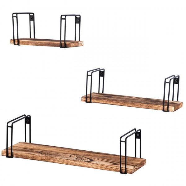 Floating Shelves Retro Style Storage Display Shelf with Iron Bracket and Wood Set of 3